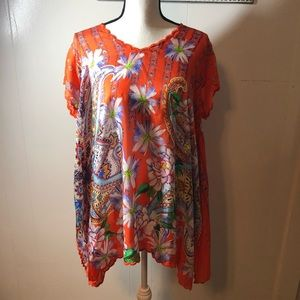 Johnny Was Linko BabyDoll boHo Tunic Top